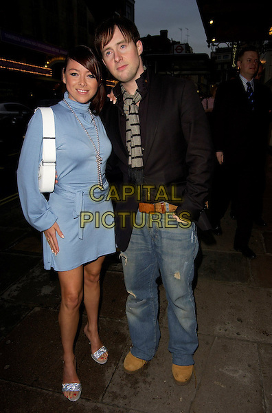 "LISA SCOTT-LEE & ""H"" IAN WATKINS.Attend the Press Night of ""Footloose: The Musical"", Novello Theatre, London, England, April 18th 2006..full length blue dress white bag steps scott lee.Ref: CAN.www.capitalpictures.com.sales@capitalpictures.com.©Can Nguyen/Capital Pictures"