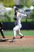 University of Connecticut pitcher Carson Cross (43) during game against the Rutgers University Scarlet Knights at Bainton Field on May 3, 2013 in Piscataway, New Jersey. Connecticut defeated Rutgers 3-1.      . (Tomasso DeRosa/ Four Seam Images)