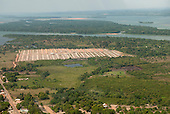 Itaituba, Brazil. Aerial view of social housing development at Piracanã II beside the Tapajos River.