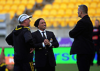 Lions coach Earl Va'a talks to his assistants before the Mitre 10 Cup rugby union match between Wellington Lions and Waikato at Westpac Stadium in Wellington, New Zealand on Saturday, 15 October 2016. Photo: Dave Lintott / lintottphoto.co.nz