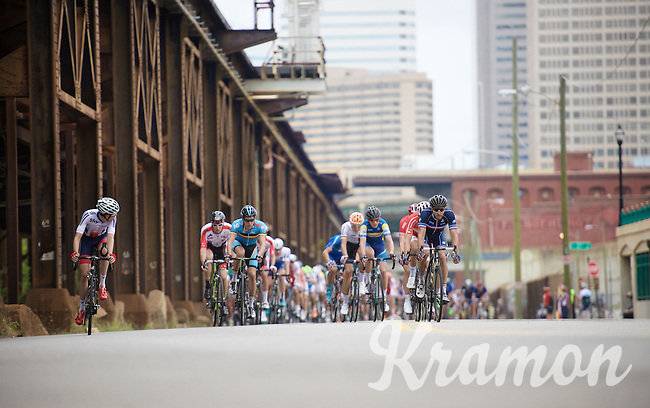 U23 peloton riding the lower parts of Richmond  <br /> <br /> U23 Road Race<br /> UCI Road World Championships Richmond 2015 / USA