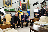 US President Donald J. Trump (R) and Prime Minister of Bulgaria Boyko Borisov (L) deliver remarks to members of the news media during their meeting in the Oval Office of the White House in Washington, DC, USA, 25 November 2019. Trump hosts Borisov to discuss security among the NATO allies and stability in the Black Sea region.<br /> Credit: Michael Reynolds / Pool via CNP