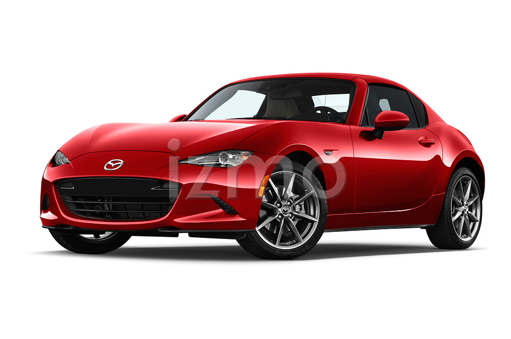 Stock pictures of low aggressive front three quarter view of 2019 Mazda MX-5 Selection 2 Door Targa Low Aggressive