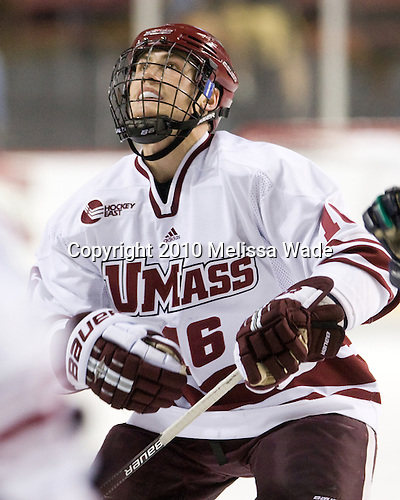 Eddie Olczyk (UMass - 16) - Sweden's Under-20 team played its last game on this Massachusetts tour versus the University of Massachusetts-Amherst Minutemen losing 5-1 on Saturday, November 6, 2010, at the Mullins Center in Amherst, Massachusetts.