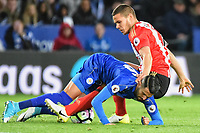 Riyad Mahrez of Leicester City with Jack Rodwell of Sunderland during the Premier League match between Leicester City v Sunderland played at King Power Stadium, Leicester on 4th April 2017.<br /> <br /> available via IPS Photo Agency only