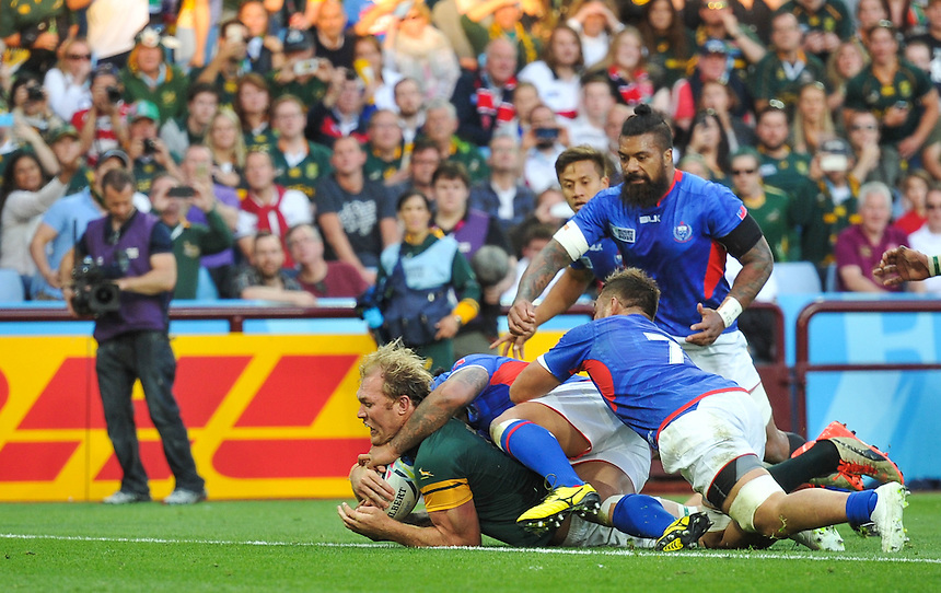 South Africa's Schalk Burger scores his sides second try<br /> <br /> Photographer Craig Thomas /CameraSport<br /> <br /> Rugby Union - 2015 Rugby World Cup Pool B  South Africa v Samoa - Saturday 26th September 2015 - Villa Park - Birmingham<br /> <br /> &copy; CameraSport - 43 Linden Ave. Countesthorpe. Leicester. England. LE8 5PG - Tel: +44 (0) 116 277 4147 - admin@camerasport.com - www.camerasport.com