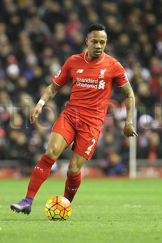 02.03.2016. Anfield Stadium, Liverpool, England. Barclays Premier League. Liverpool versus Manchester City. Nathaniel Clyne of Liverpool in action