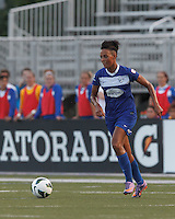Boston Breakers forward Lianne Sanderson (10) on the attack.  In a National Women's Soccer League (NWSL) match, Boston Breakers (blue) defeated Sky Blue FC (white), 3-2, at Dilboy Stadium on June 30, 2013.