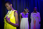 JOHANNESBURG, SOUTH AFRICA OCTOBER 29: Models walking for the designer label Milles Collines from Rwanda wait backstage before a show at Mercedes Benz Africa fashion week Africa on October 29, 2014 held at Melrose Arch in Johannesburg, South Africa. Designers from all over Africa showed their best collections at the yearly event. (Photo by: Per-Anders Pettersson)