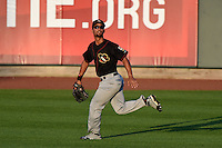 Quad Cities River Bandits outfielder James Ramsay (15) tracks down a fly ball during a game against the Cedar Rapids Kernels on August 18, 2014 at Perfect Game Field at Veterans Memorial Stadium in Cedar Rapids, Iowa.  Cedar Rapids defeated Quad Cities 5-3.  (Mike Janes/Four Seam Images)