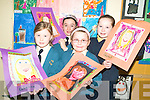 GETTING ARTY: Pupils from Balloonagh Primary School drew self portraits as part of their annual arts weeks. Front l-r: Alanna Dennehy and Natalie Mason. Back l-r: Ali Feely and Avril Fitzgerald.
