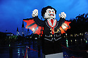 LEGO(R) Lord Vampyre comes to life in front of St. Louis Cathedral just before sunrise  at the LEGO Halloween-themed community build on Sunday Sept 30, 2012, in New Orleans. (Photo by Cheryl Gerber/Invision for LEGO/AP Images)..