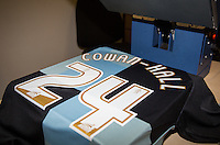 Paris Cowan-Hall of Wycombe Wanderers shirt is printed during the Sky Bet League 2 match between Wycombe Wanderers and Leyton Orient at Adams Park, High Wycombe, England on 23 January 2016. Photo by Andy Rowland / PRiME Media Images.