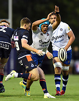 Zach Mercer of Bath Rugby looks to charge the ball down. Pre-season friendly match, between Edinburgh Rugby and Bath Rugby on August 17, 2018 at Meggetland Sports Complex in Edinburgh, Scotland. Photo by: Patrick Khachfe / Onside Images