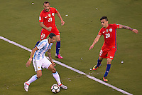 Action photo during the match Argentina vs Chile corresponding to the Final of America Cup Centenary 2016, at MetLife Stadium.<br /> <br /> Foto durante al partido Argentina vs Chile cprresponidente a la Final de la Copa America Centenario USA 2016 en el Estadio MetLife , en la foto:Angel Di Maria de Argentina<br /> <br /> <br /> 26/06/2016/MEXSPORT/JAVIER RAMIREZ