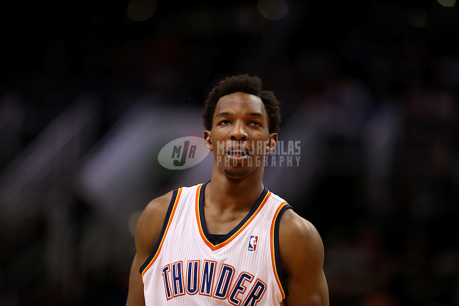 Feb. 10, 2013; Phoenix, AZ, USA: Oklahoma City Thunder center Hasheem Thabeet against the Phoenix Suns at the US Airways Center. Mandatory Credit: Mark J. Rebilas-