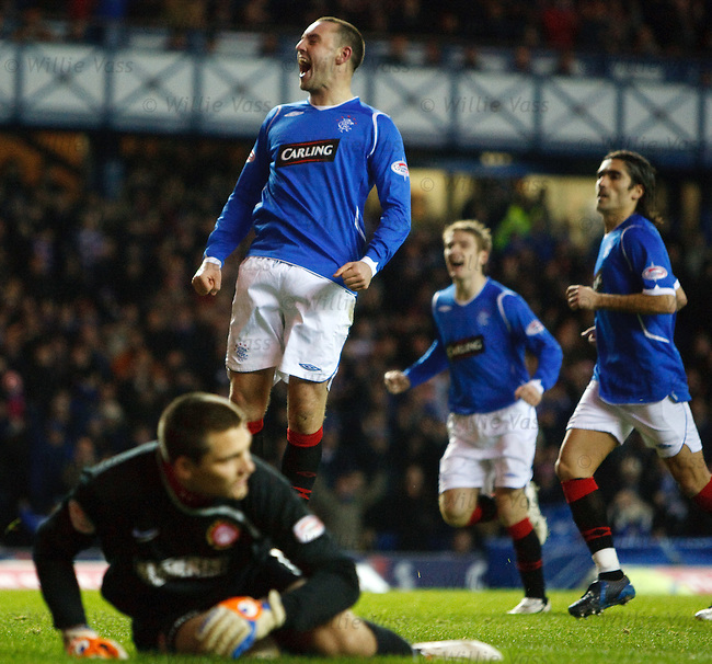 Kris Boyd celebrates scoring his penalty past Tomas Cerny