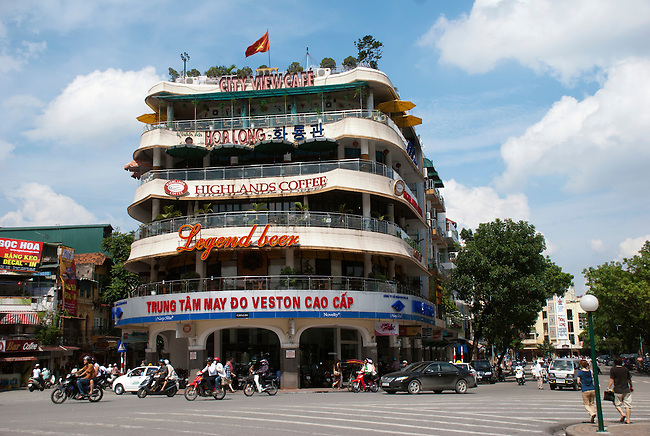 Hanoi, Vietnam, City View Cafep on the top of a building with a view overlooking Hoan Kiem lake. hoto taken July 2008.