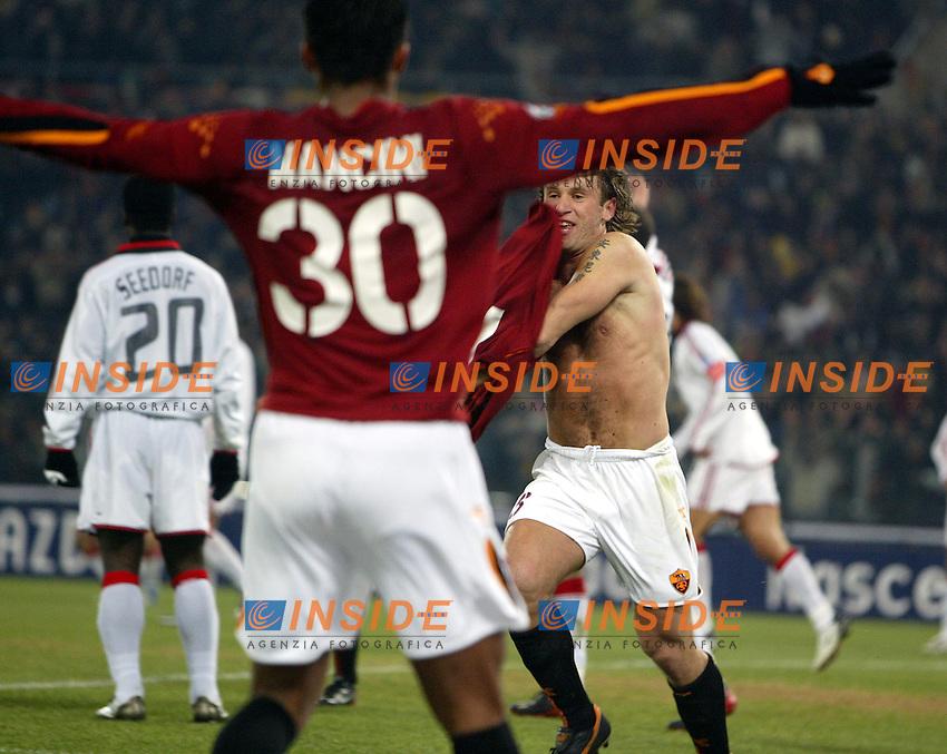 Roma 6/1/2004 Roma - Milan 1-2<br /> Antonio Cassano (Roma) festeggia il gol del momentaneo pareggio<br /> Antonio Cassano (Roma) celebrates goal of 1-1<br /> Photo Andrea Staccioli / Insidefoto