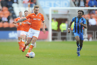 Blackpool's Nick Anderton under pressure from Gillingham's Barry Fuller<br /> <br /> Photographer Kevin Barnes/CameraSport<br /> <br /> The EFL Sky Bet League One - Blackpool v Gillingham - Saturday 4th May 2019 - Bloomfield Road - Blackpool<br /> <br /> World Copyright © 2019 CameraSport. All rights reserved. 43 Linden Ave. Countesthorpe. Leicester. England. LE8 5PG - Tel: +44 (0) 116 277 4147 - admin@camerasport.com - www.camerasport.com
