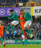 16th November 2019; Windsor Park, Belfast, Antrim County, Northern Ireland; European Championships 2020 Qualifier, Northern Ireland versus Netherlands; Luuk de Jong of Netherlands and Josh Magennis of Northern Ireland challenge for the header - Editorial Use
