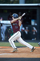 Zack Aigner (14) of Kannapolis Post 115 follows through on his swing against Mooresville Post 66 during an American Legion baseball game at Northwest Cabarrus High School on May 30, 2019 in Concord, North Carolina. Mooresville Post 66 defeated Kannapolis Post 115 4-3. (Brian Westerholt/Four Seam Images)