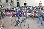 Alejandro Valverde (ESP) Movistar Team at sign on in San Gimignano before the start of the 2014 Strade Bianche race over the white dusty gravel roads of Tuscany, Italy. 8th March 2014.<br /> Picture: Eoin Clarke www.newsfile.ie