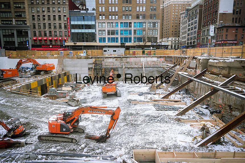 Construction on Sixth Avenue in Midtown Manhattan in New York on Sunday, January 26, 2014. (© Richard B. Levine)