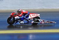 Jul. 18, 2010; Sonoma, CA, USA; NHRA pro stock motorcycle rider Hector Arana during the Fram Autolite Nationals at Infineon Raceway. Mandatory Credit: Mark J. Rebilas-