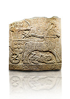 Hittite relief sculpted orthostat stone panel of Long Wall Limestone, Karkamıs, (Kargamıs), Carchemish (Karkemish), 900 -700 B.C. Anatolian Civilisations Museum, Ankara, Turkey<br /> <br /> Chariot. One of the two figures in the chariot holds the horse's headstall while the other throws arrows. There is a naked enemy with an arrow in his hip lying face down under the horse's feet. It is thought that this figure is depicted smaller than the other figures since it is an enemy soldier. The lower part of the orthostat is decorated with braiding motifs.<br /> <br /> On a White Background.