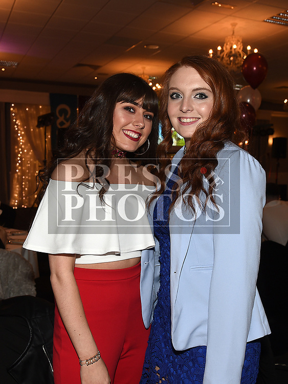 Michaela Matthews and Lauren Sheeran at the Oliver Plunketts 75th anniversary dinner in the Westcourt hotel. Photo:Colin Bell/pressphotos.ie