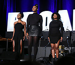 "N'Kenge, Nasia Thomas, Samantha Williams from ""Caroline or Change"" during the BroadwayCON 2020 First Look at the New York Hilton Midtown Hotel on January 24, 2020 in New York City."