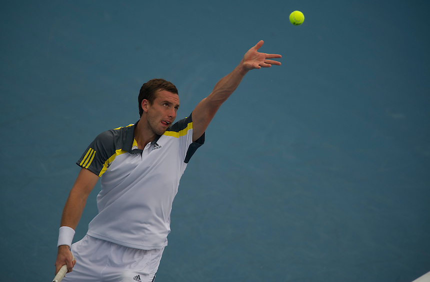 Ernests Gulbis (LAT) in action during his victory over James Blake (USA) in their First Round match today - E Gulbis (LAT) def J Blake (USA) 6-1 6-4..ATP 250 Tennis - 2012 Delray Beach International Tennis Championships - Tuesday 26th February 2013 - Delray Beach Stadium & Tennis Center - Delray Beach - Florida - USA..© CameraSport - 43 Linden Ave. Countesthorpe. Leicester. England. LE8 5PG - Tel: +44 (0) 116 277 4147 - admin@camerasport.com - www.camerasport.com