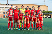 Boston, MA - Sunday September 10, 2017: Portland Thorns FC starting eleven during a regular season National Women's Soccer League (NWSL) match between the Boston Breakers and Portland Thorns FC at Jordan Field.