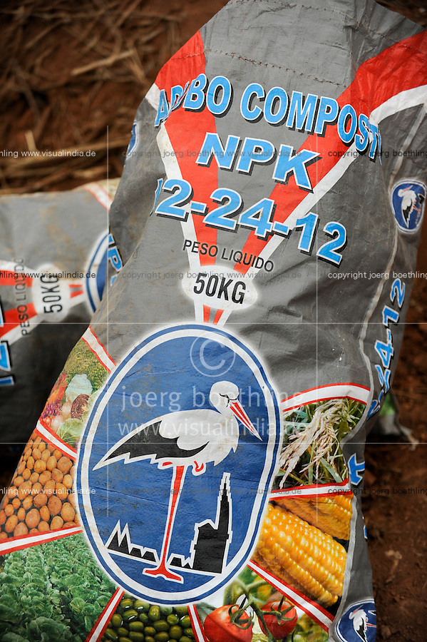 ANGOLA NPK fertilizer bags on a a large farm