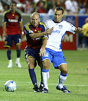 Clint Mathis, Antonio Ribeiros in the San Jose Earthquakes @ Real Salt Lake 1-1 draw at Rio Tinto Stadium in Sandy, Utah on July 03, 2009