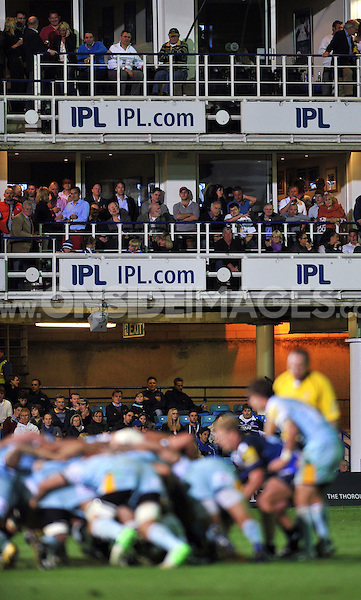 A view of people in the IPL Stand watching the match. Aviva Premiership match, between Bath Rugby and Northampton Saints on September 14, 2012 at the Recreation Ground in Bath, England. Photo by: Patrick Khachfe / Onside Images