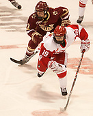 Serena Sommerfield (BC - 3), Rebecca Leslie (BU - 19) - The Boston College Eagles defeated the Boston University Terriers 3-2 in the first round of the Beanpot on Monday, January 31, 2017, at Matthews Arena in Boston, Massachusetts.