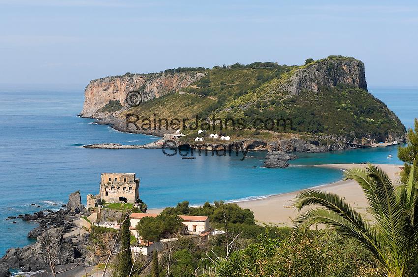 Italy, Calabria, Praia a Mare: popular resort at Riviera dei Cedri, tower, ruin and island Isola di Dino