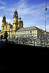 Cycles parked close to the theatinerkirche or saint Kajetan church in Munich, Germany, July 31, 2008. (ALTERPHOTOS/Alvaro Hernandez)