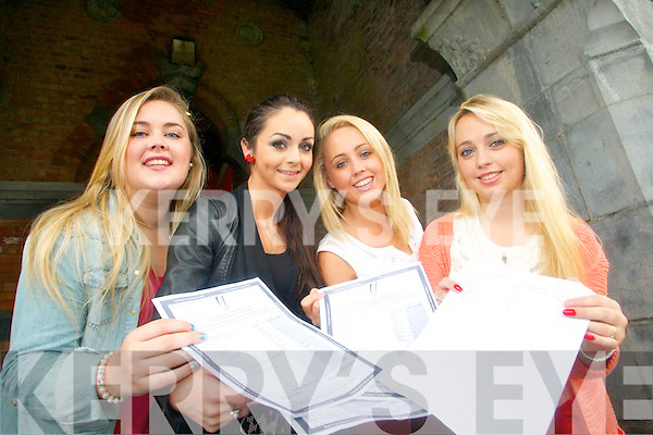 Leaving Cert students from Brookfield College, Tralee, who received their Leaving Cert results on Wednesday morning are pictured l-r: Cloda Kerins (The Spa), Annmarie McMahon (Mounthawk), Eadaoin McGinley (Monavalley) and Laura Byrne (Caherslee).