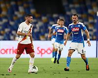 5th July 2020; Stadio San Paolo, Naples, Campania, Italy; Serie A Football, Napoli versus Roma; Jordan Veretout of AS Roma challenged by Fabián Ruiz Peña of Napoli