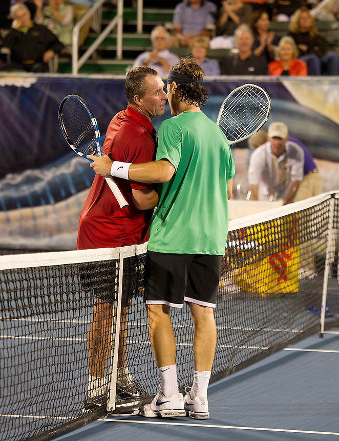 Ivan Lendl (USA) congratulates Carlos Moya (ESP) after their Final match today - Carlos Moya (ESP) def Ivan Lendl (USA) 6-4 6-4..Tennis - 2012 ATP Champions Tour - Day 5 - Tuesday 28 February 2012 - Delray Beach Stadium & Tennis Center - Delray Beach - Florida - USA ..