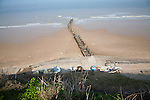 Overhead oblique view of wide sandy beach at low tide, Overstrand, Norfolk, England