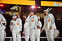 MIAMI, FL - JANUARY 27: Kansas City Chiefs Safety Tyrann Mathieu (#32), Quarterback Patrick Mahomes (#15) and Kansas City Chiefs Tight End Travis Kelce (#87) answers questions from the media during the NFL Super Bowl ( LIV)(54) Opening Night at Marlins Park on January 27, 2020  in Miami, Florida. ( Photo by Johnny Louis / jlnphotography.com )