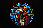 Stained Glass Window of St. Charles Borromeo in Alumni Hall Chapel..Photo by Matt Cashore/University of Notre Dame