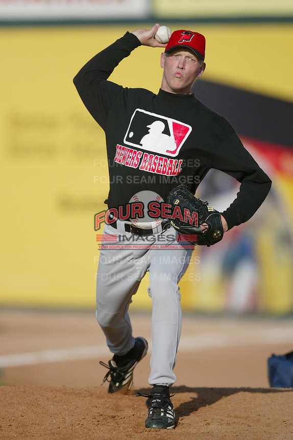 Ben Hendrickson of the High Desert Mavericks warms up before pitching against the San Bernardino Stampede during a California League 2002 season game at San Manuel Stadium, in San Bernardino, California. (Larry Goren/Four Seam Images)