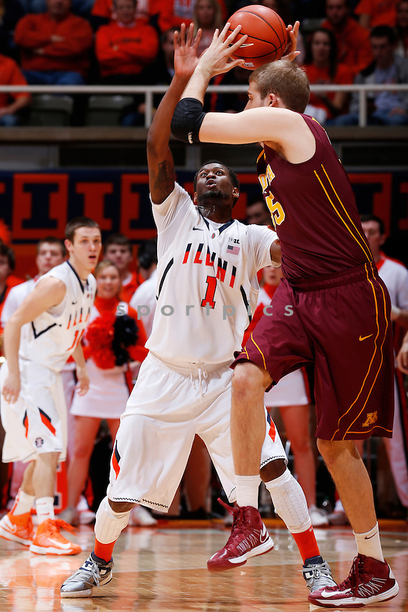 CHAMPAIGN, IL - JANUARY 9: D.J. Richardson #1 of the Illinois Fighting Illini defends against Elliott Eliason #55 of the Minnesota Golden Gophers during the game at Assembly Hall on January 9, 2013 in Champaign, Illinois. Minnesota won 84-67. D.J. Richardson;Elliott Eliason