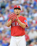Yu Darvish (Rangers),<br /> APRIL 3, 2017 - MLB :<br /> Texas Rangers starting pitcher Yu Darvish stands on the mound during the opening day of the Major League Baseball game against the Cleveland Indians at Globe Life Park in Arlington in Arlington, Texas, United States. (Photo by AFLO)