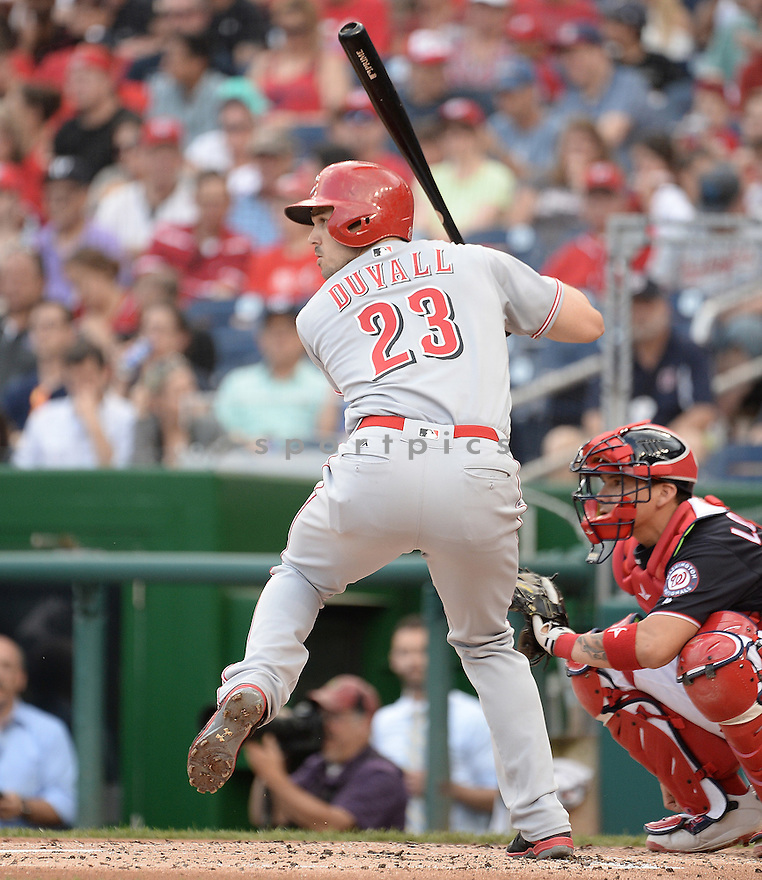 CIncinnati Reds Adam Duvall (23) during a game against the Washington Nationals on July 1, 2016 at Nationals Park in Washington DC. The Nationals beat the Reds 3-2.